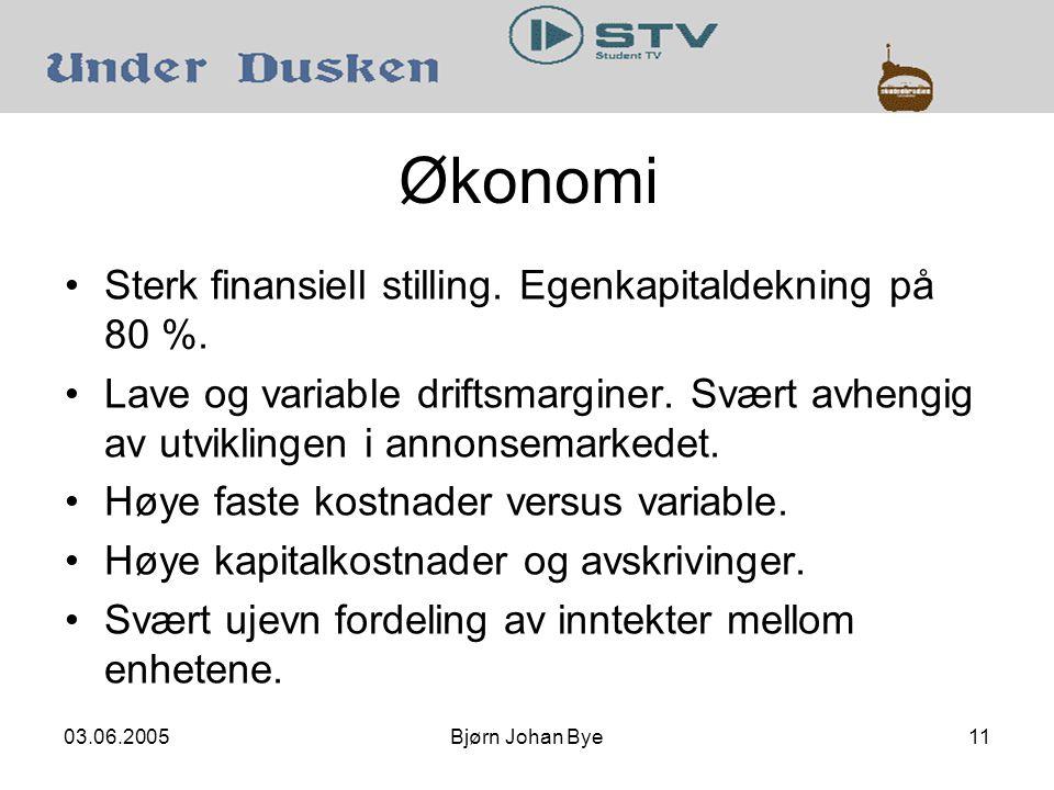 03.06.2005Bjørn Johan Bye11 Økonomi Sterk finansiell stilling.