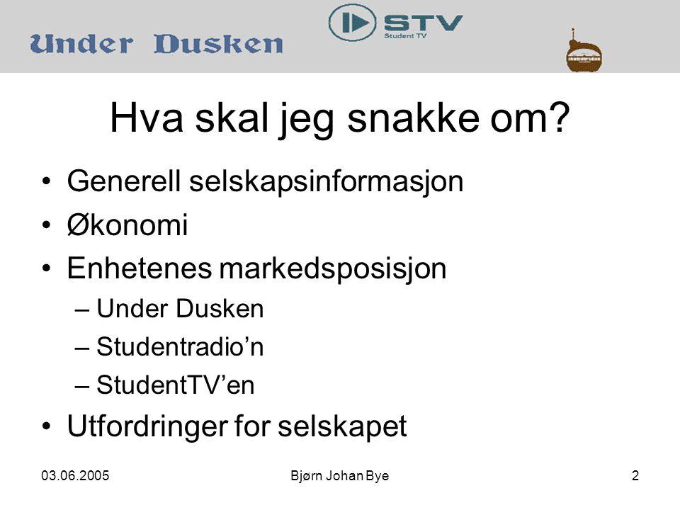 03.06.2005Bjørn Johan Bye3 Selskapets formål Mediastud skal gi studenter i Trondheim et bredt tilbud av medier drevet av studenter; blant annet nærradioen Studentradio'n, tidsskriftet Studentersamfundet prenta blad Under Dusken , TV- og filmproduksjon i StudentTV'en og webmedier.