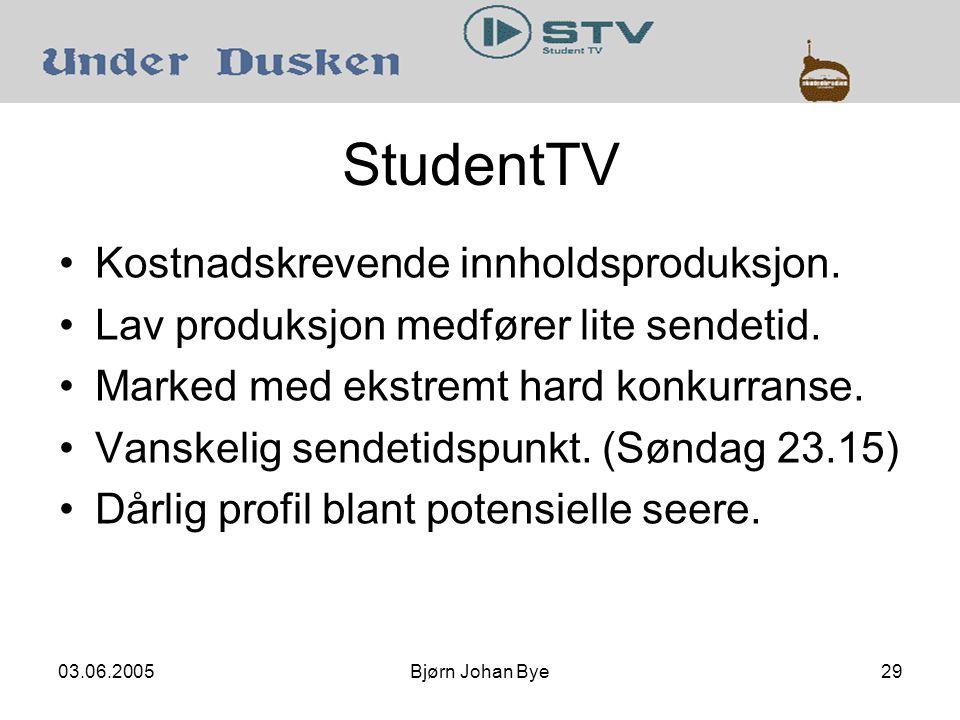 03.06.2005Bjørn Johan Bye29 StudentTV Kostnadskrevende innholdsproduksjon.
