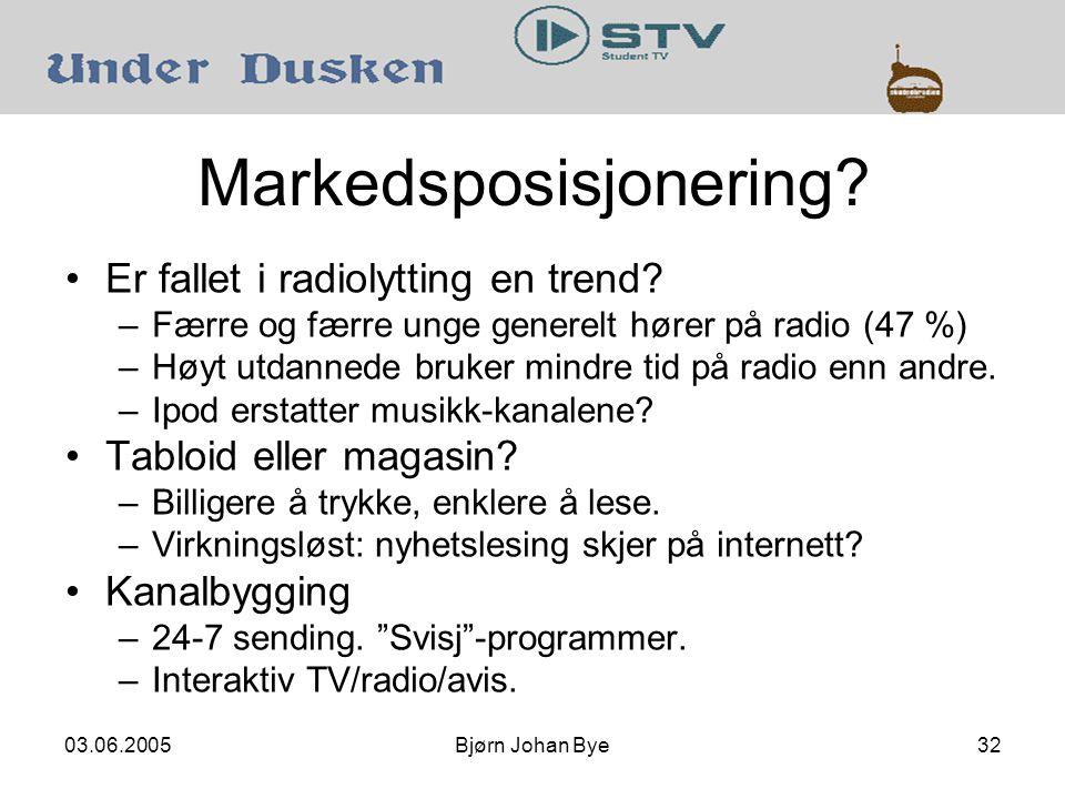 03.06.2005Bjørn Johan Bye32 Markedsposisjonering. Er fallet i radiolytting en trend.