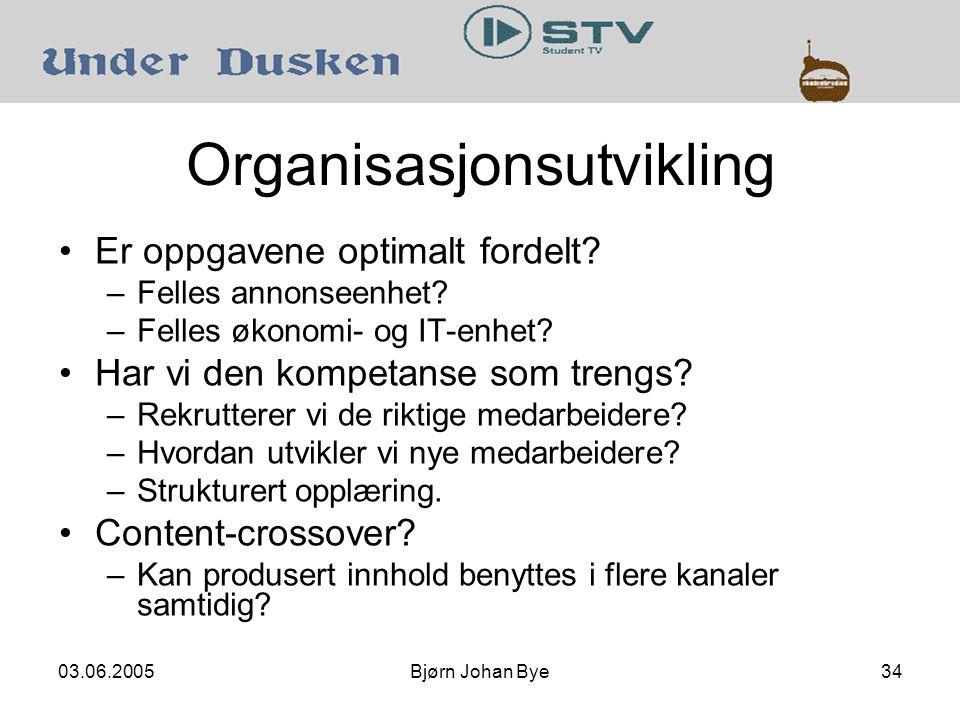 03.06.2005Bjørn Johan Bye34 Organisasjonsutvikling Er oppgavene optimalt fordelt.