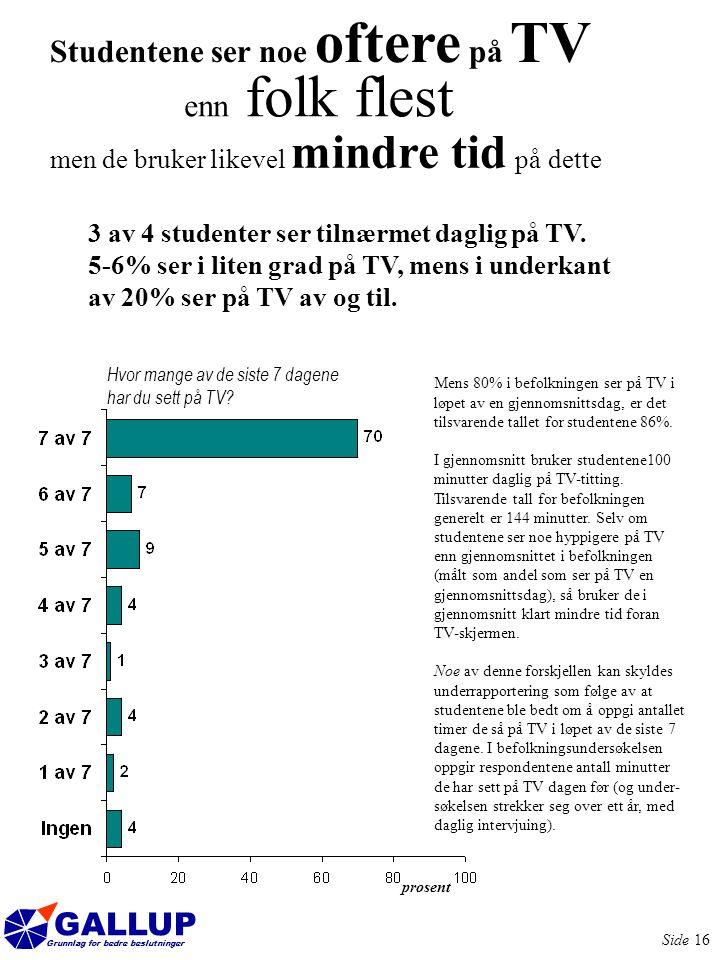 GALLUP Grunnlag for bedre beslutninger Side 16 Studentene ser noe oftere på TV enn folk flest 3 av 4 studenter ser tilnærmet daglig på TV.