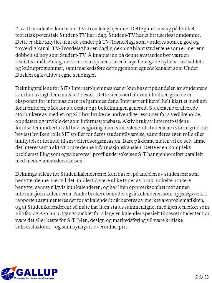 GALLUP Grunnlag for bedre beslutninger Side 33 7 av 10 studenter kan ta inn TV-Trøndelag hjemme.