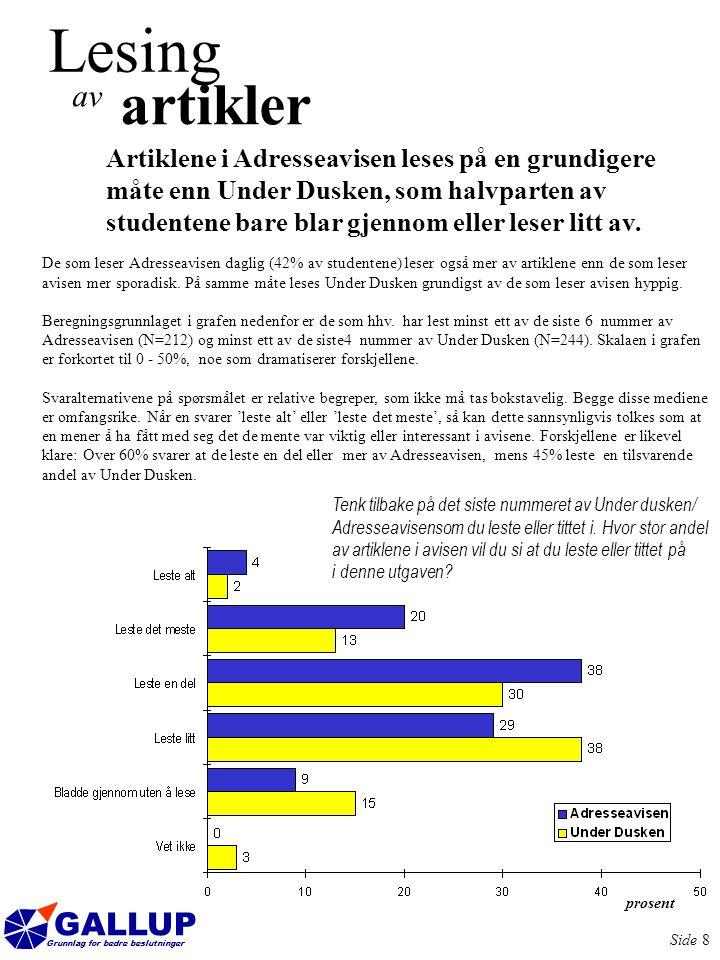 GALLUP Grunnlag for bedre beslutninger Side 9 Også annonsene leses i større grad når studentene leser Adresseavisen enn når de leser Under Dusken.