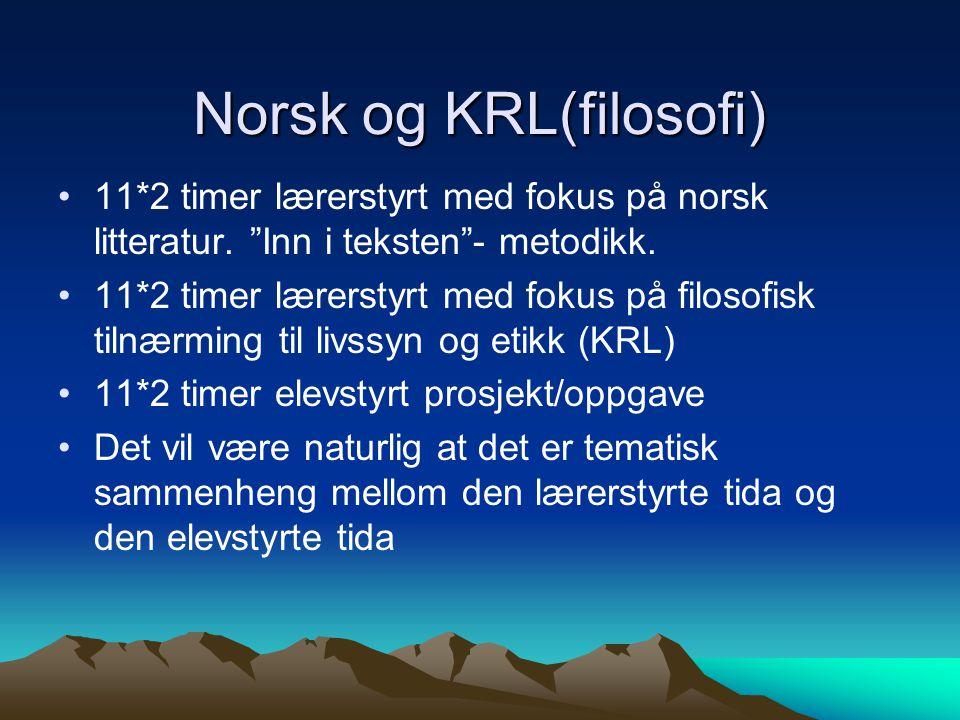 Norsk og KRL(filosofi) 11*2 timer lærerstyrt med fokus på norsk litteratur.