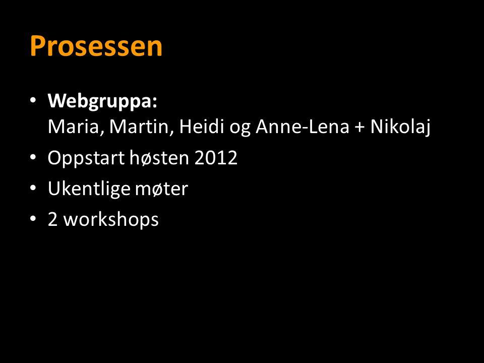 Prosessen Webgruppa: Maria, Martin, Heidi og Anne-Lena + Nikolaj Oppstart høsten 2012 Ukentlige møter 2 workshops