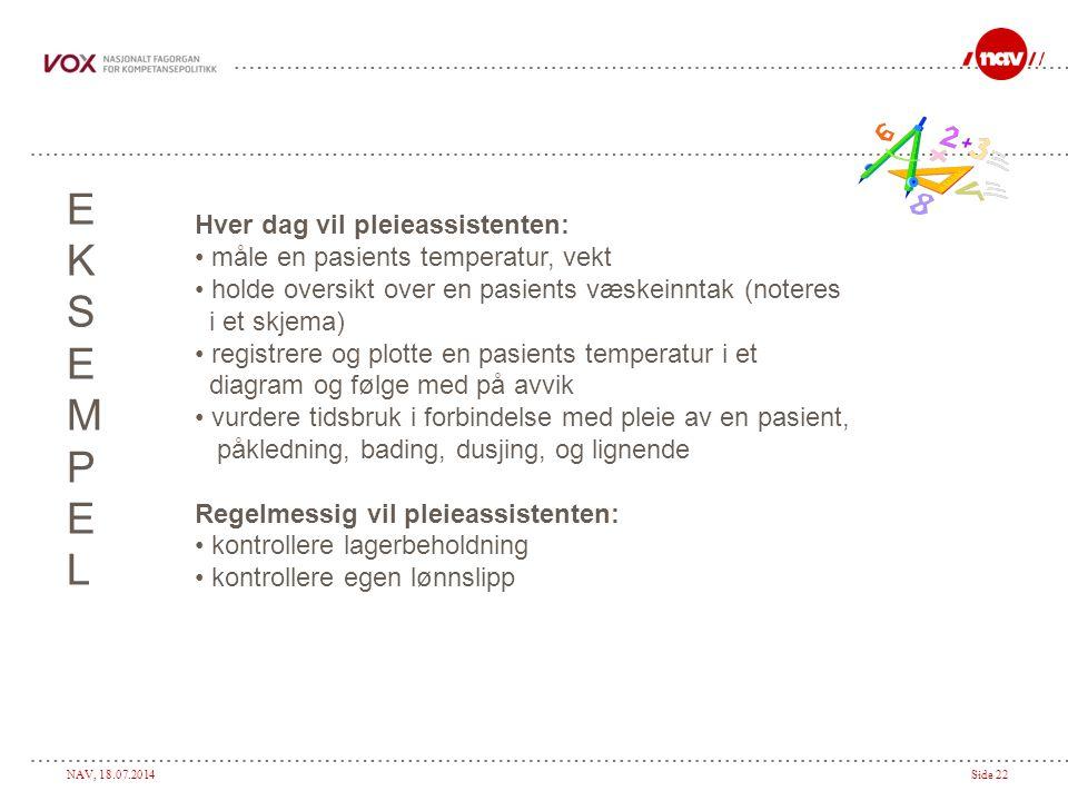 NAV, 18.07.2014Side 22 EKSEMPELEKSEMPEL Hver dag vil pleieassistenten: måle en pasients temperatur, vekt holde oversikt over en pasients væskeinntak (noteres i et skjema) registrere og plotte en pasients temperatur i et diagram og følge med på avvik vurdere tidsbruk i forbindelse med pleie av en pasient, påkledning, bading, dusjing, og lignende Regelmessig vil pleieassistenten: kontrollere lagerbeholdning kontrollere egen lønnslipp