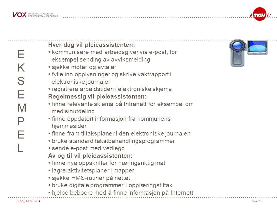 NAV, 18.07.2014Side 23 EKSEMPELEKSEMPEL Hver dag vil pleieassistenten: kommunisere med arbeidsgiver via e-post, for eksempel sending av avviksmelding