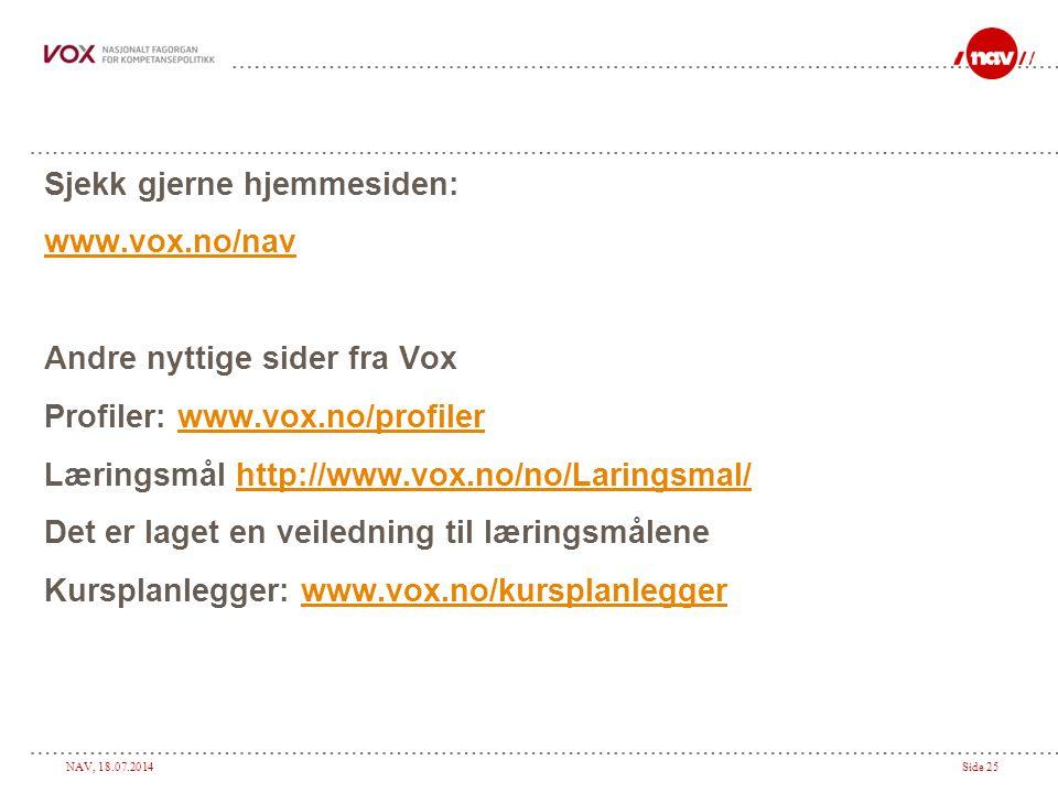 NAV, 18.07.2014Side 25 Sjekk gjerne hjemmesiden: www.vox.no/nav Andre nyttige sider fra Vox Profiler: www.vox.no/profilerwww.vox.no/profiler Læringsmål http://www.vox.no/no/Laringsmal/http://www.vox.no/no/Laringsmal/ Det er laget en veiledning til læringsmålene Kursplanlegger: www.vox.no/kursplanleggerwww.vox.no/kursplanlegger