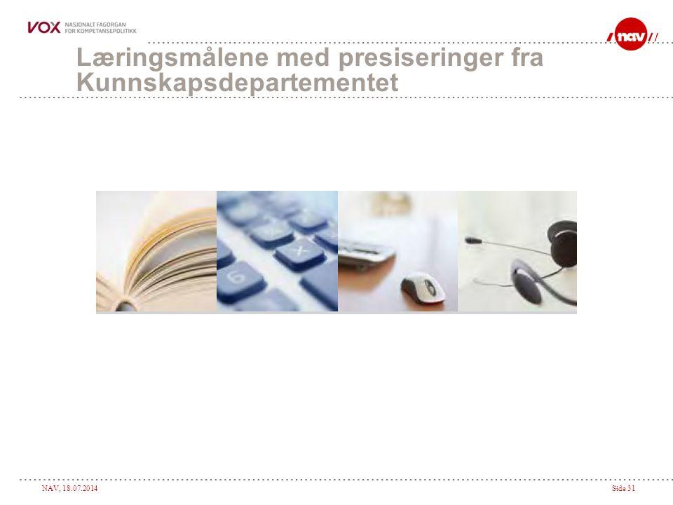 NAV, 18.07.2014Side 31 Læringsmålene med presiseringer fra Kunnskapsdepartementet