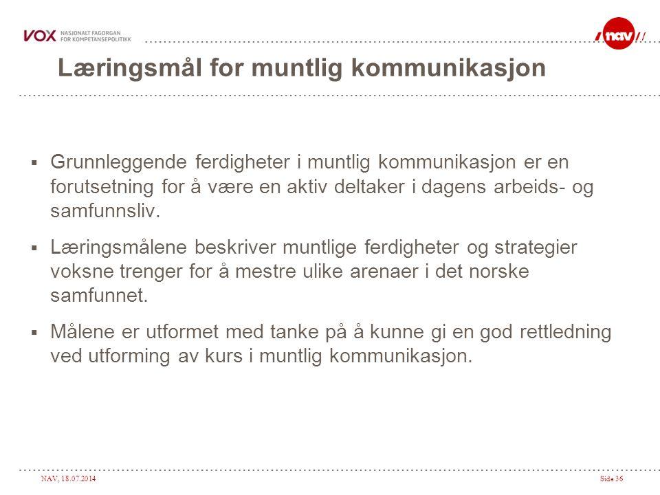 NAV, 18.07.2014Side 36 Læringsmål for muntlig kommunikasjon  Grunnleggende ferdigheter i muntlig kommunikasjon er en forutsetning for å være en aktiv