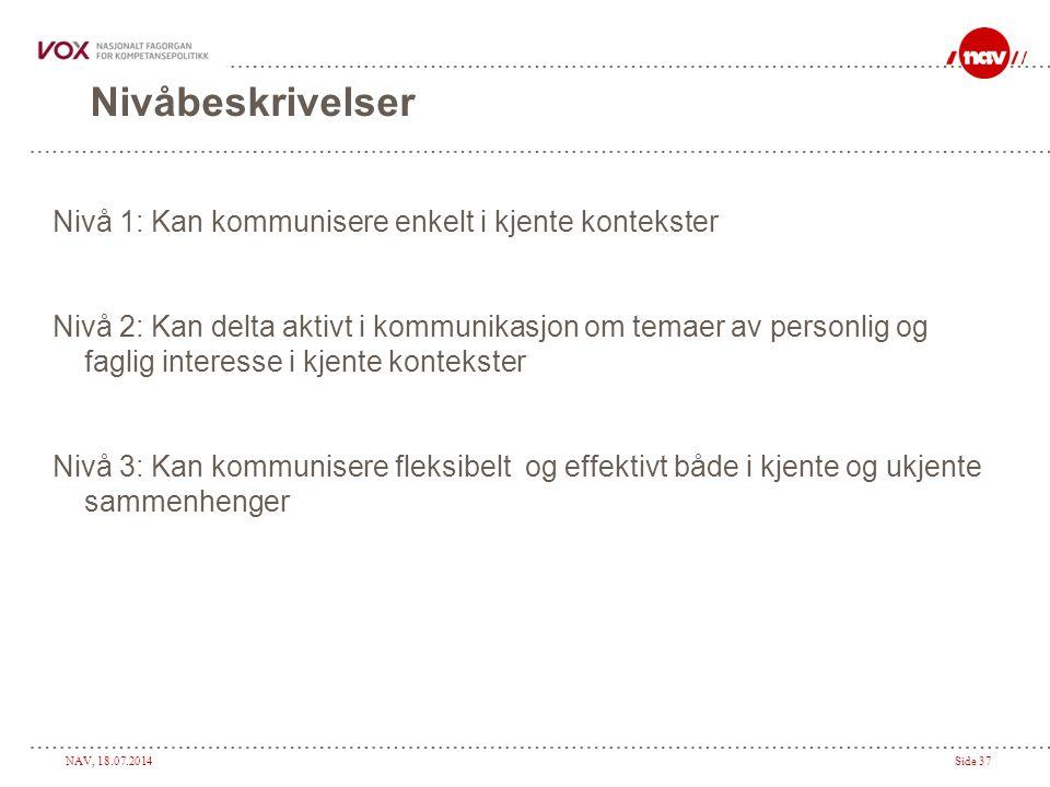 NAV, 18.07.2014Side 37 Nivåbeskrivelser Nivå 1: Kan kommunisere enkelt i kjente kontekster Nivå 2: Kan delta aktivt i kommunikasjon om temaer av perso