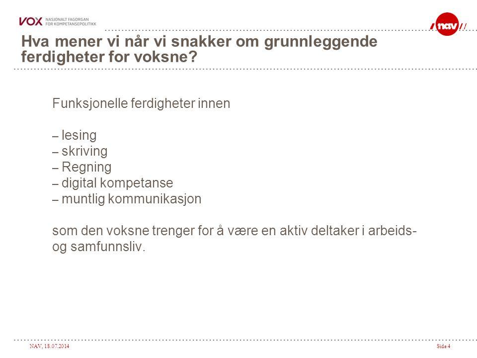 NAV, 18.07.2014Side 4 Hva mener vi når vi snakker om grunnleggende ferdigheter for voksne.