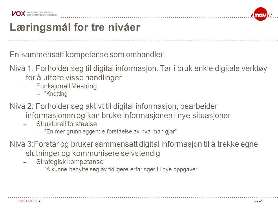 NAV, 18.07.2014Side 45 Læringsmål for tre nivåer En sammensatt kompetanse som omhandler: Nivå 1: Forholder seg til digital informasjon. Tar i bruk enk