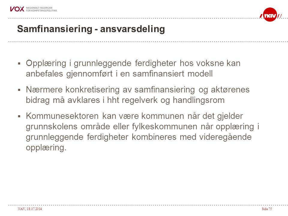 NAV, 18.07.2014Side 75 Samfinansiering - ansvarsdeling  Opplæring i grunnleggende ferdigheter hos voksne kan anbefales gjennomført i en samfinansiert