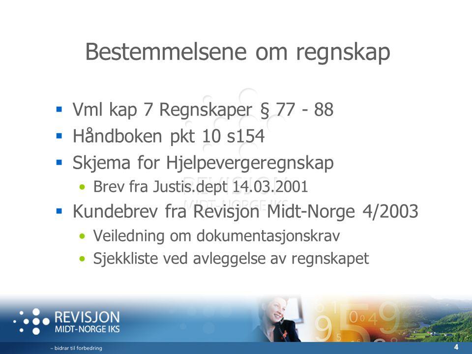 4 Bestemmelsene om regnskap  Vml kap 7 Regnskaper § 77 - 88  Håndboken pkt 10 s154  Skjema for Hjelpevergeregnskap Brev fra Justis.dept 14.03.2001