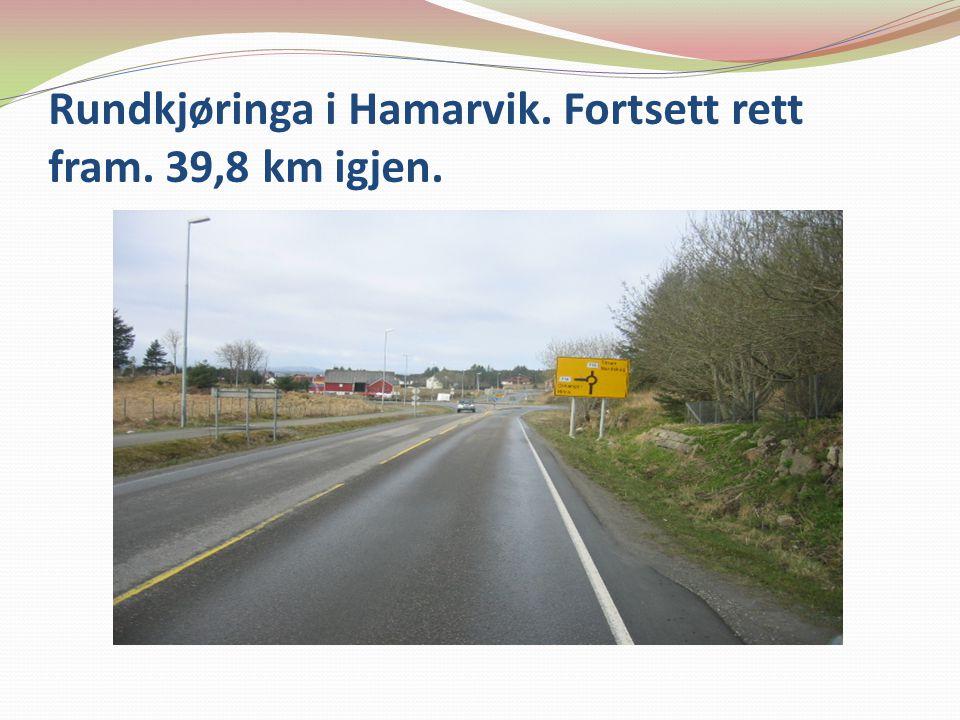 Rundkjøringa i Hamarvik. Fortsett rett fram. 39,8 km igjen.