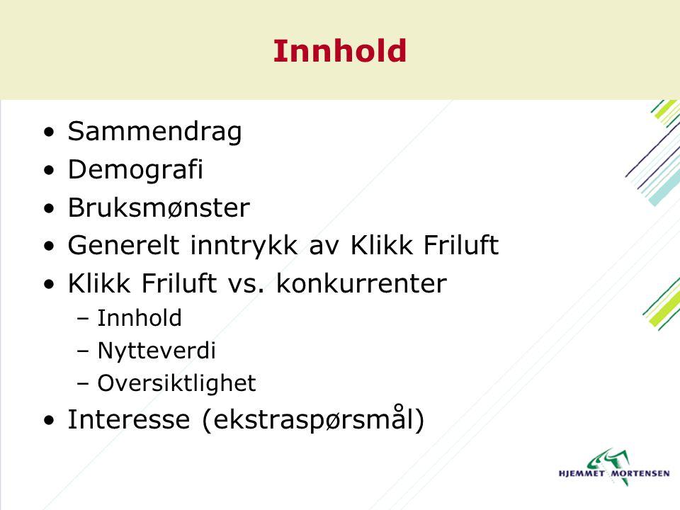 Innhold Sammendrag Demografi Bruksmønster Generelt inntrykk av Klikk Friluft Klikk Friluft vs.