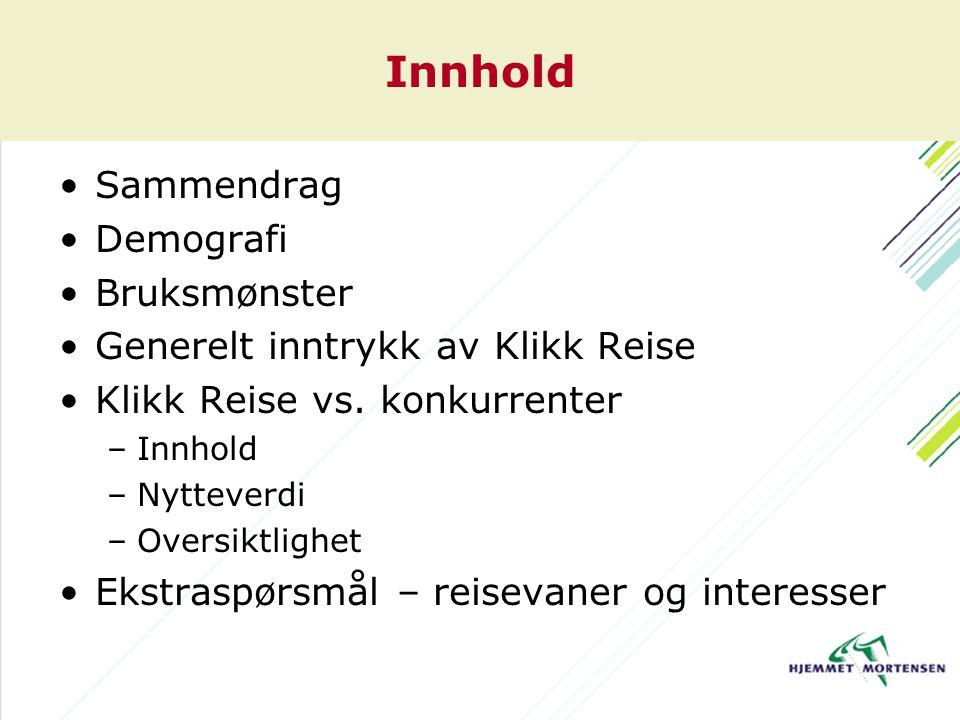 Innhold Sammendrag Demografi Bruksmønster Generelt inntrykk av Klikk Reise Klikk Reise vs.