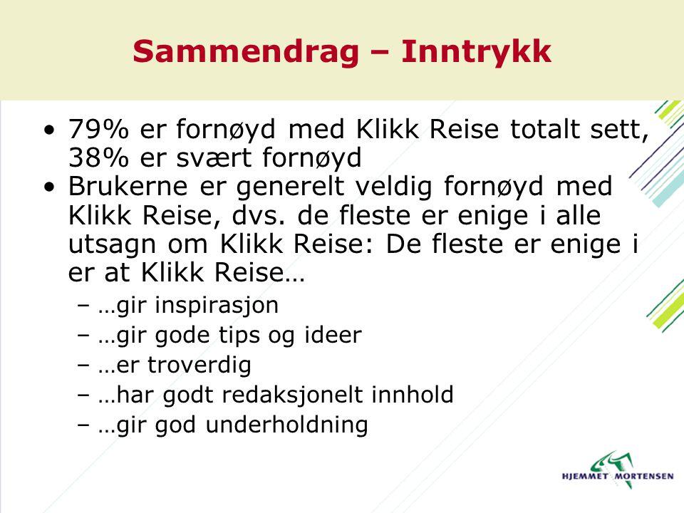 Sammendrag – Inntrykk 79% er fornøyd med Klikk Reise totalt sett, 38% er svært fornøyd Brukerne er generelt veldig fornøyd med Klikk Reise, dvs. de fl
