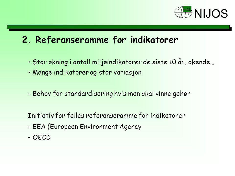 NIJOS Stor økning i antall miljøindikatorer de siste 10 år, økende… Mange indikatorer og stor variasjon - Behov for standardisering hvis man skal vinne gehør Initiativ for felles referanseramme for indikatorer - EEA (European Environment Agency - OECD 2.