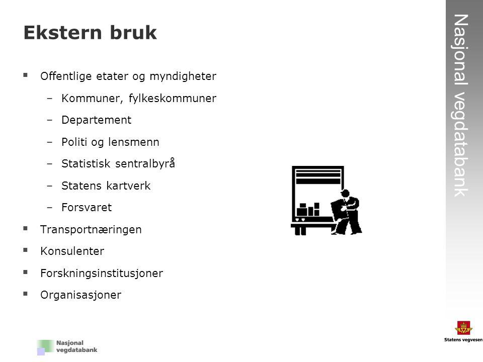 11 Nasjonal vegdatabank  Offentlige etater og myndigheter –Kommuner, fylkeskommuner –Departement –Politi og lensmenn –Statistisk sentralbyrå –Statens
