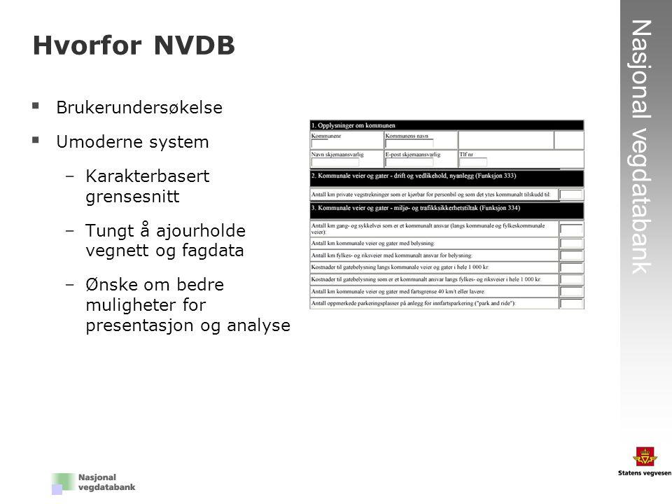 2 Nasjonal vegdatabank Hvorfor NVDB  Brukerundersøkelse  Umoderne system –Karakterbasert grensesnitt –Tungt å ajourholde vegnett og fagdata –Ønske o