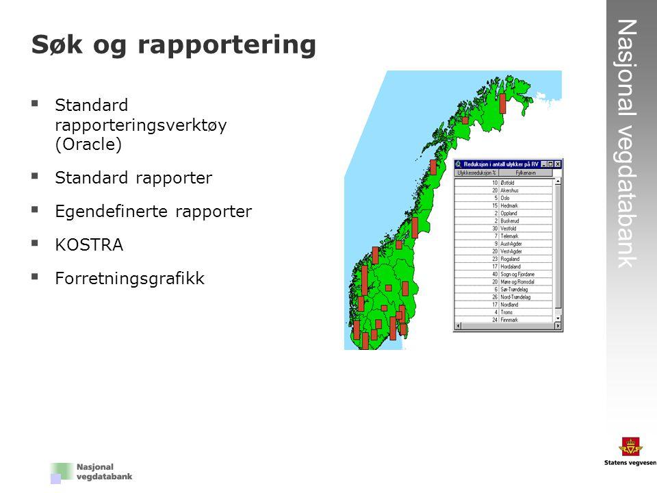 23 Nasjonal vegdatabank  Standard rapporteringsverktøy (Oracle)  Standard rapporter  Egendefinerte rapporter  KOSTRA  Forretningsgrafikk Søk og r