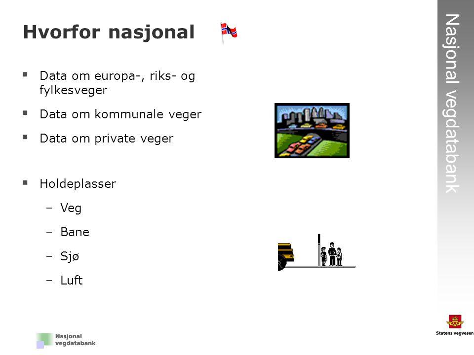 3 Nasjonal vegdatabank Hvorfor nasjonal  Data om europa-, riks- og fylkesveger  Data om kommunale veger  Data om private veger  Holdeplasser –Veg