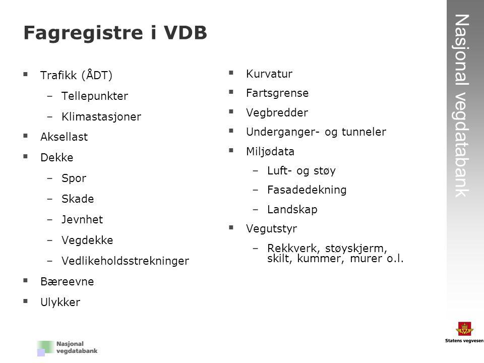 9 Nasjonal vegdatabank  Trafikk (ÅDT) –Tellepunkter –Klimastasjoner  Aksellast  Dekke –Spor –Skade –Jevnhet –Vegdekke –Vedlikeholdsstrekninger  Bæ