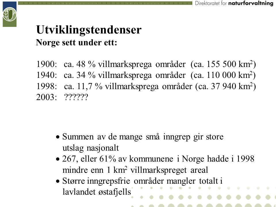  Summen av de mange små inngrep gir store utslag nasjonalt  267, eller 61% av kommunene i Norge hadde i 1998 mindre enn 1 km 2 villmarkspreget areal