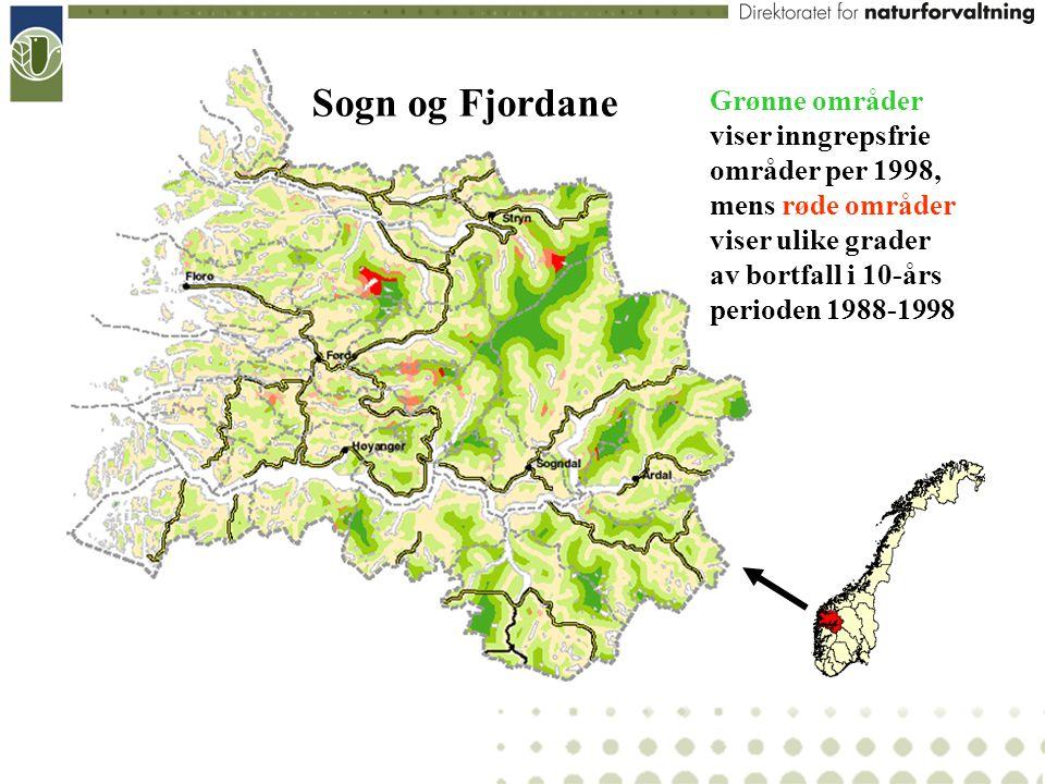 Sogn og Fjordane Grønne områder viser inngrepsfrie områder per 1998, mens røde områder viser ulike grader av bortfall i 10-års perioden 1988-1998