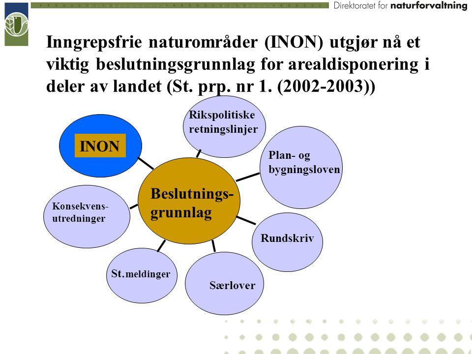 Inngrepsfrie naturområder (INON) utgjør nå et viktig beslutningsgrunnlag for arealdisponering i deler av landet (St. prp. nr 1. (2002-2003)) Beslutnin