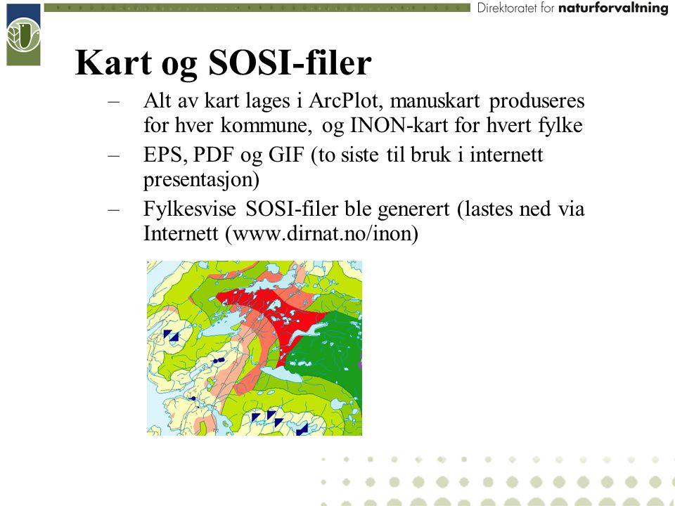 Kart og SOSI-filer –Alt av kart lages i ArcPlot, manuskart produseres for hver kommune, og INON-kart for hvert fylke –EPS, PDF og GIF (to siste til br