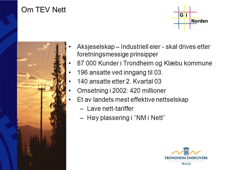 Om TEV Nett NIS implementering ferdigstilt April 03 –GIS til NIS Omfattende reorganisering av hele selskapet sluttført Mai 03 –Fra 196 til 140 ansatte.