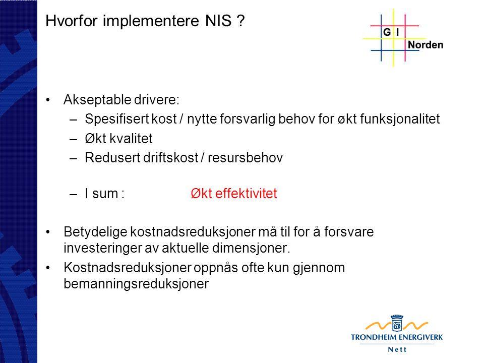Hvorfor implementere NIS ? Akseptable drivere: –Spesifisert kost / nytte forsvarlig behov for økt funksjonalitet –Økt kvalitet –Redusert driftskost /