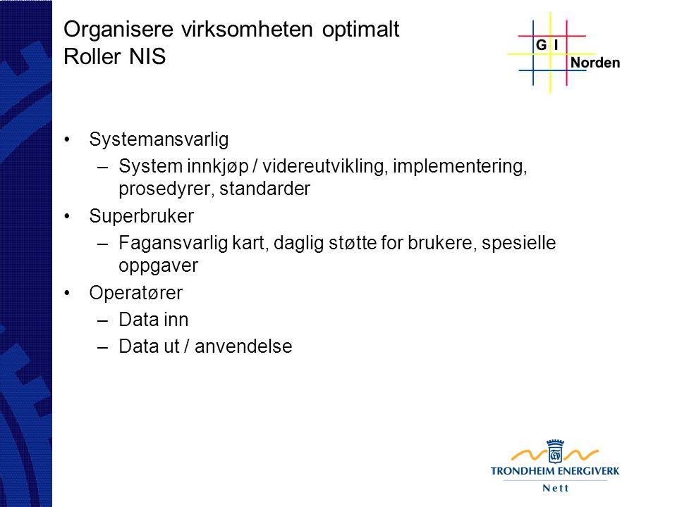 Organisere virksomheten optimalt Roller NIS Systemansvarlig –System innkjøp / videreutvikling, implementering, prosedyrer, standarder Superbruker –Fag
