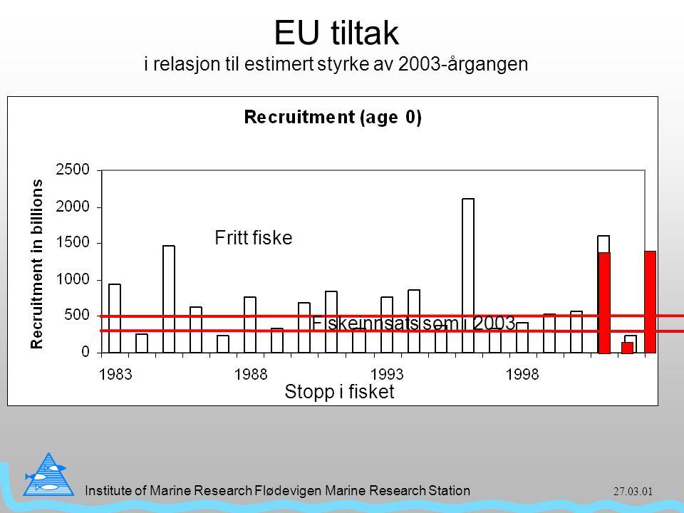 Institute of Marine Research Flødevigen Marine Research Station 27.03.01 EU tiltak i relasjon til estimert styrke av 2003-årgangen Fritt fiske Fiskeinnsats som i 2003 Stopp i fisket