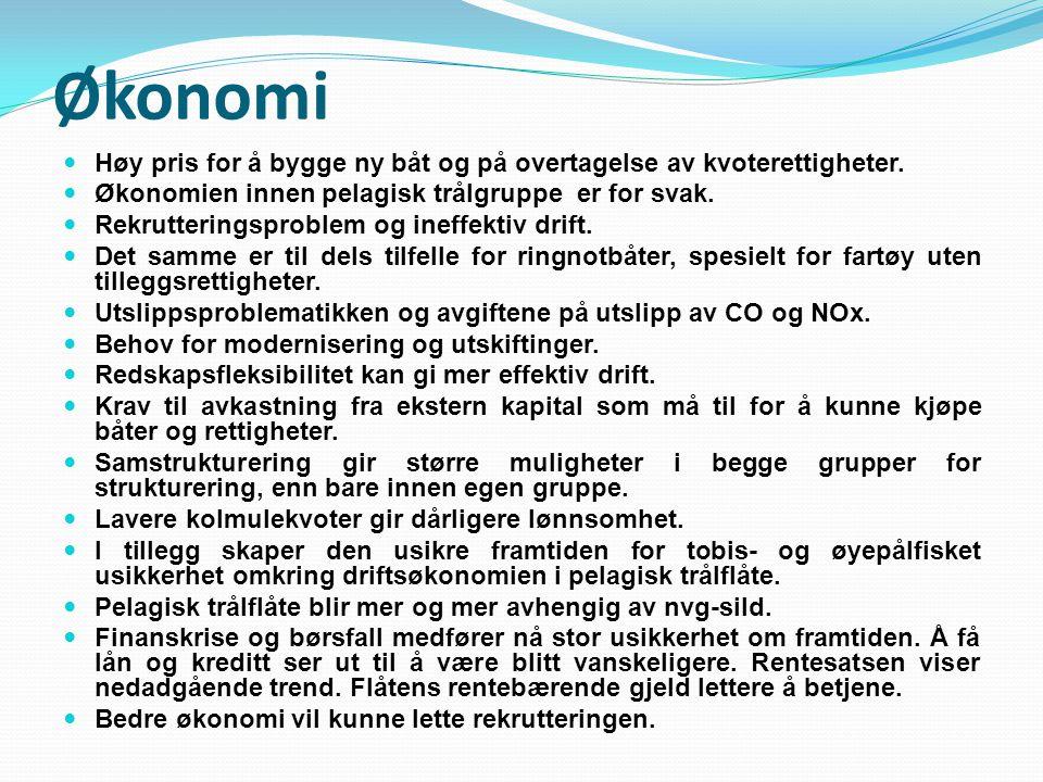 Økonomi Høy pris for å bygge ny båt og på overtagelse av kvoterettigheter. Økonomien innen pelagisk trålgruppe er for svak. Rekrutteringsproblem og in