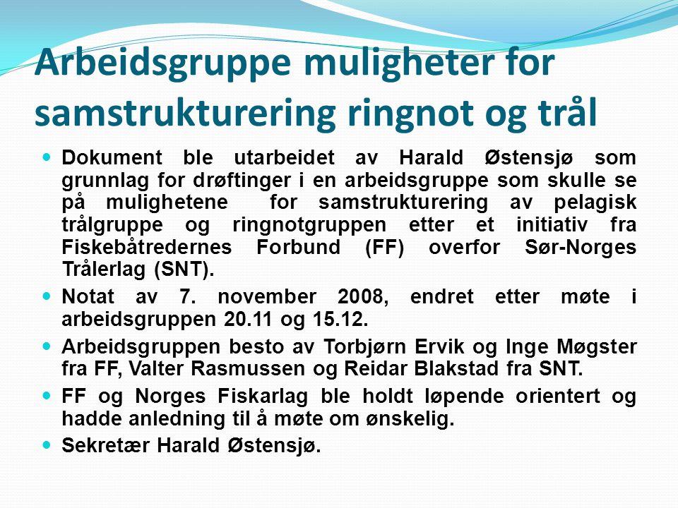 Arbeidsgruppe muligheter for samstrukturering ringnot og trål Dokument ble utarbeidet av Harald Østensjø som grunnlag for drøftinger i en arbeidsgrupp