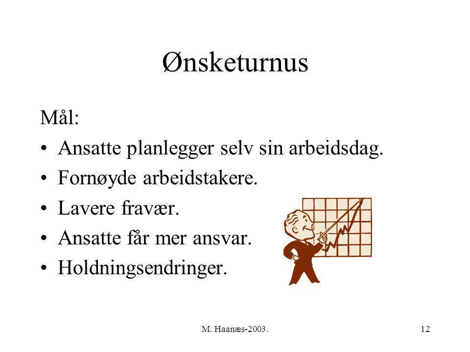 M. Haanæs-2003.12 Ønsketurnus Mål: Ansatte planlegger selv sin arbeidsdag.