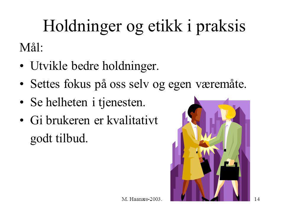 M.Haanæs-2003.14 Holdninger og etikk i praksis Mål: Utvikle bedre holdninger.