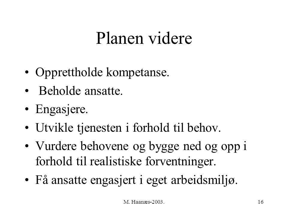 M. Haanæs-2003.16 Planen videre Opprettholde kompetanse.