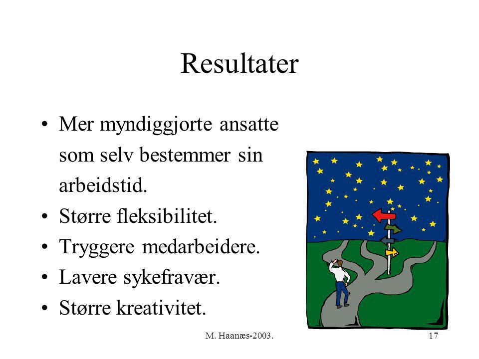 M.Haanæs-2003.17 Resultater Mer myndiggjorte ansatte som selv bestemmer sin arbeidstid.