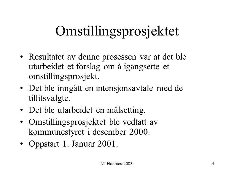 M. Haanæs-2003.4 Omstillingsprosjektet Resultatet av denne prosessen var at det ble utarbeidet et forslag om å igangsette et omstillingsprosjekt. Det