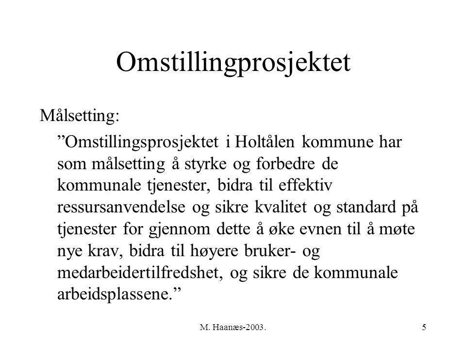 """M. Haanæs-2003.5 Omstillingprosjektet Målsetting: """"Omstillingsprosjektet i Holtålen kommune har som målsetting å styrke og forbedre de kommunale tjene"""