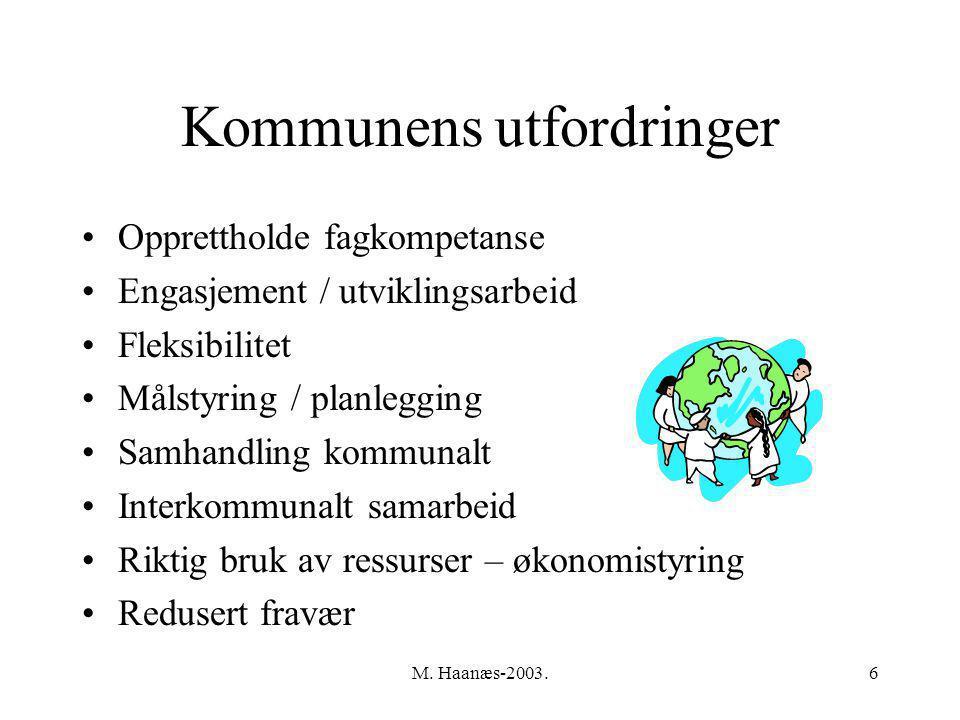 M. Haanæs-2003.6 Kommunens utfordringer Opprettholde fagkompetanse Engasjement / utviklingsarbeid Fleksibilitet Målstyring / planlegging Samhandling k