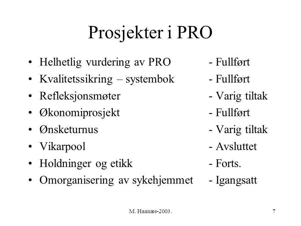 M. Haanæs-2003.7 Prosjekter i PRO Helhetlig vurdering av PRO- Fullført Kvalitetssikring – systembok- Fullført Refleksjonsmøter- Varig tiltak Økonomipr