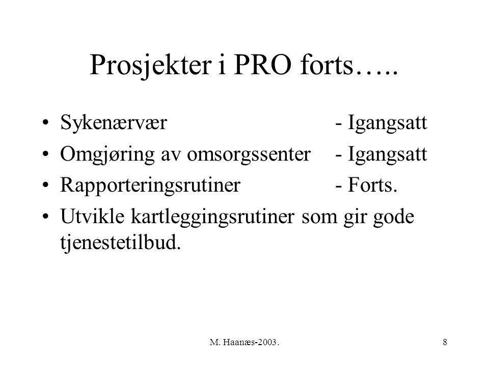 M.Haanæs-2003.8 Prosjekter i PRO forts…..
