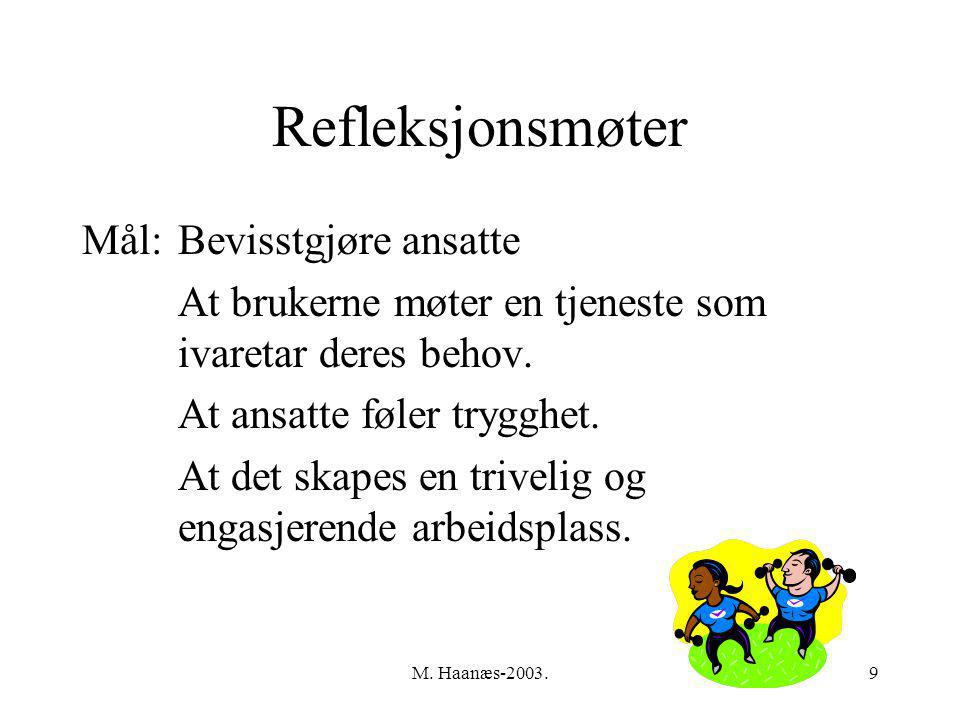 M. Haanæs-2003.9 Refleksjonsmøter Mål:Bevisstgjøre ansatte At brukerne møter en tjeneste som ivaretar deres behov. At ansatte føler trygghet. At det s